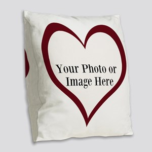 Your Photo Heart by LH Burlap Throw Pillow