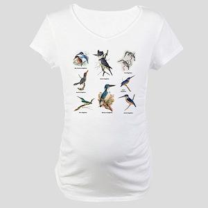 Birder Kingfisher Illustrations Maternity T-Shirt