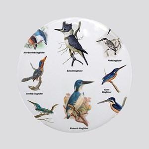 Birder Kingfisher Illustrations Round Ornament