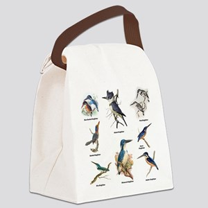 Birder Kingfisher Illustrations Canvas Lunch Bag