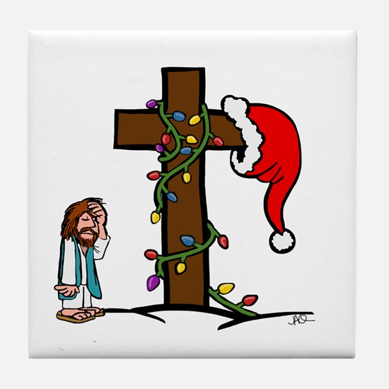 Christmas Irony Tile Coaster