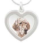 English Setter (Orange Belto Silver Heart Necklace
