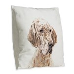 English Setter (Orange Belton) Burlap Throw Pillow