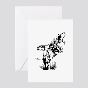 Rider on Rodeo Bull Greeting Cards