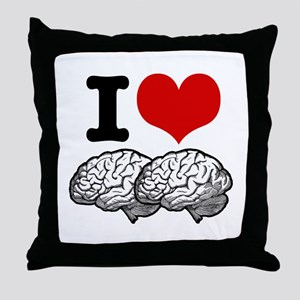 I Love Brains Throw Pillow
