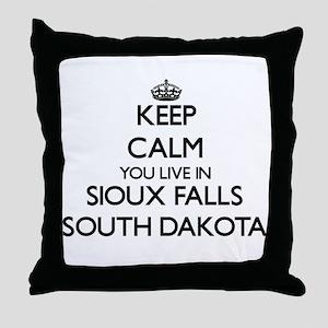 Keep calm you live in Sioux Falls Sou Throw Pillow