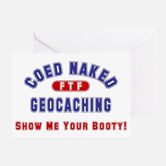 """Coed Naked Geocaching"" Greeting Card"
