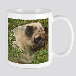 Fawn Pug with foliage Mugs