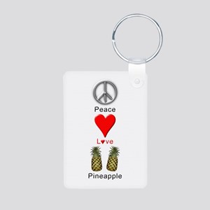Peace Love Pineapple Aluminum Photo Keychain