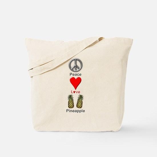 Peace Love Pineapple Tote Bag