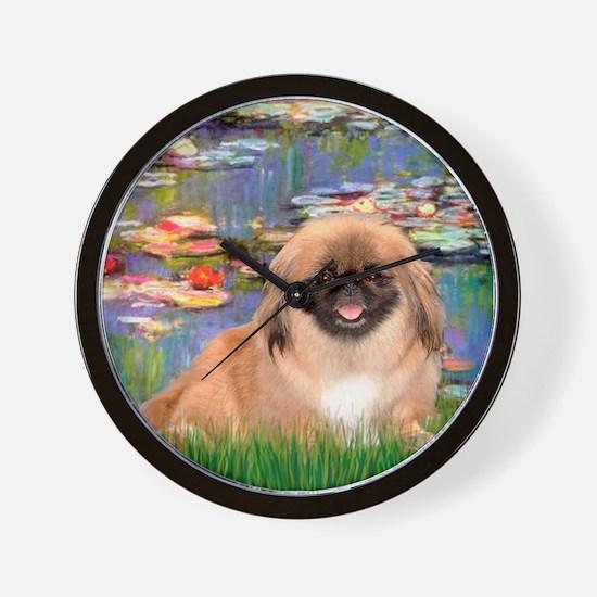 Lilies & Pekingese (#1) Wall Clock