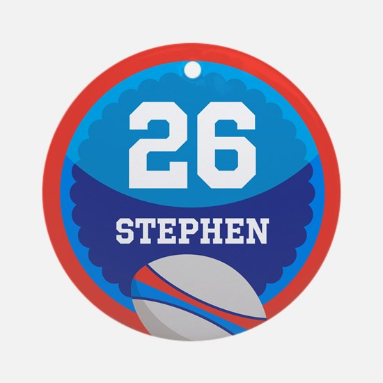 Personalized Rugby Sports Number Ornament (Round)