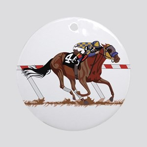 Jockey on Racehorse Ornament (Round)