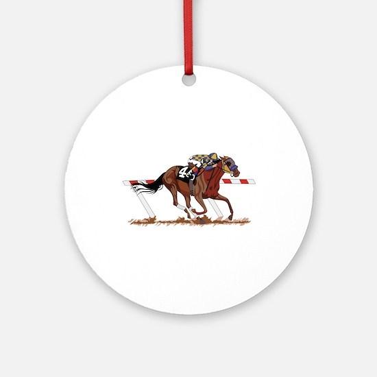 Jockey on Racehorse Ornament (Round)