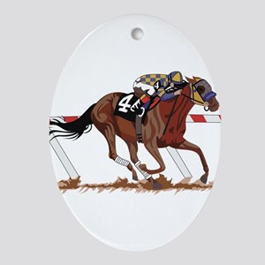 Jockey on Racehorse Ornament (Oval)