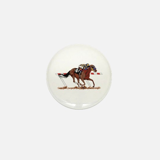 Jockey on Racehorse Mini Button