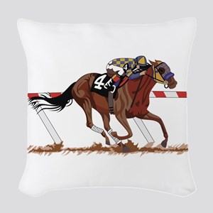 Jockey on Racehorse Woven Throw Pillow