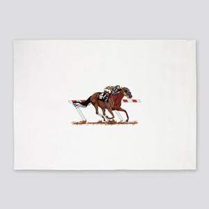 Jockey on Racehorse 5'x7'Area Rug
