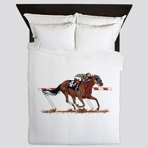 Jockey on Racehorse Queen Duvet