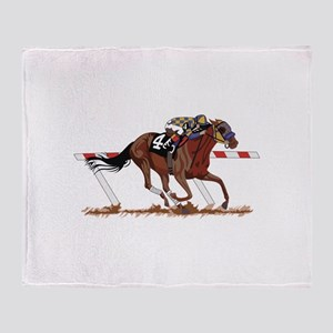 Jockey on Racehorse Throw Blanket