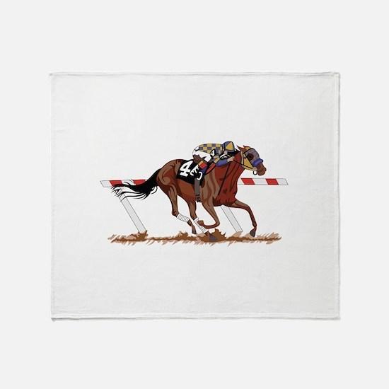 Jockey on Racehorse Throw Blanket