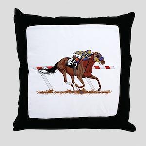 Jockey on Racehorse Throw Pillow
