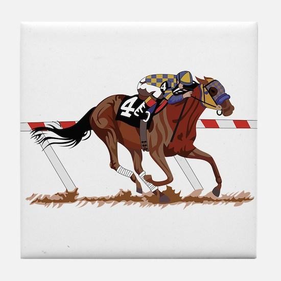 Jockey on Racehorse Tile Coaster