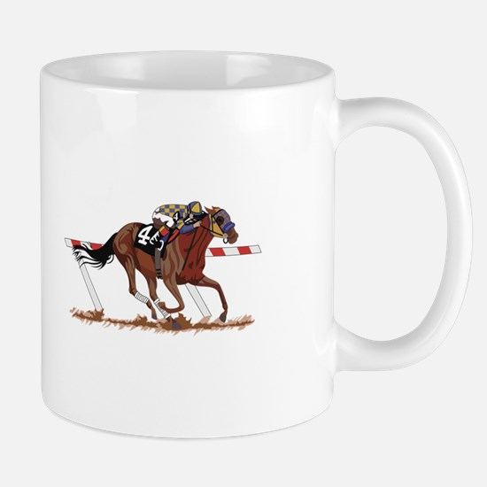 Jockey on Racehorse Mugs