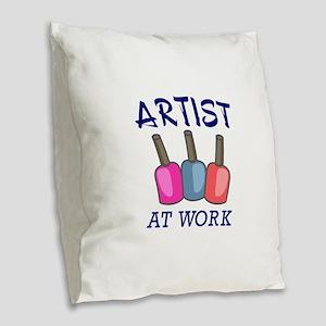 ARTIST AT WORK Burlap Throw Pillow