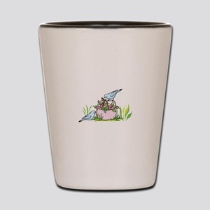 BIRDS AND FLOWER BASKET Shot Glass