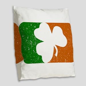 Shamrock Flag Burlap Throw Pillow
