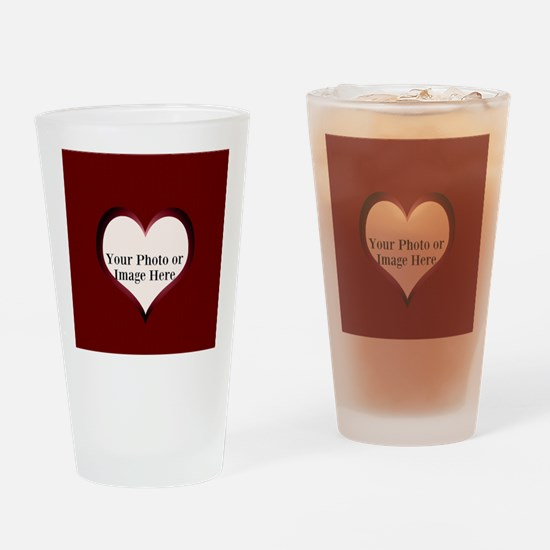 Your Photo Here Heart Frame Drinking Glass