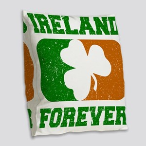 Irish Flag Shamrock Burlap Throw Pillow