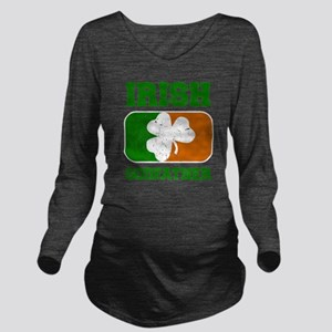 Irish Flag Shamrock Long Sleeve Maternity T-Shirt