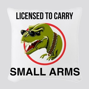 T-Rex licensed to carry small arms Woven Throw Pil
