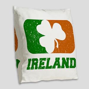 Ireland Shamrock Flag Burlap Throw Pillow