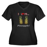 I Love Pinea Women's Plus Size V-Neck Dark T-Shirt