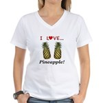I Love Pineapple Women's V-Neck T-Shirt