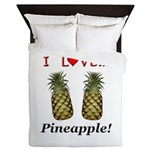 I Love Pineapple Queen Duvet