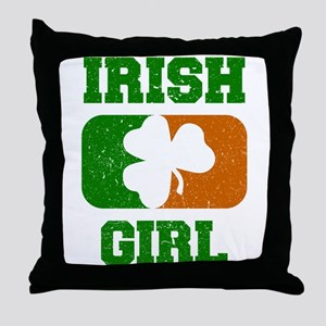 Irish Girl Shamrock Flag Throw Pillow