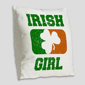 Irish Girl Shamrock Flag Burlap Throw Pillow