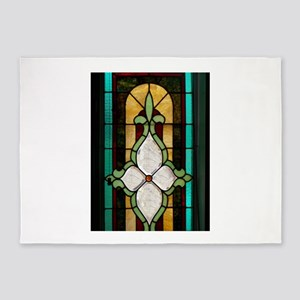 Vintage Stained Glass Window 5'x7'Area Rug