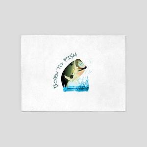 BORN TO FISH 5'x7'Area Rug