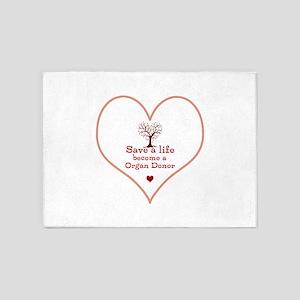Save a Life Heart Tree 5'x7'Area Rug