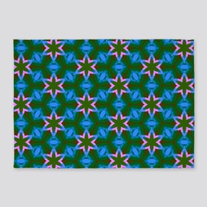 Blue Pink Star Pattern 5'x7'Area Rug