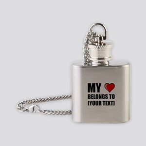 My Heart Belongs To Personalize It! Flask Necklace