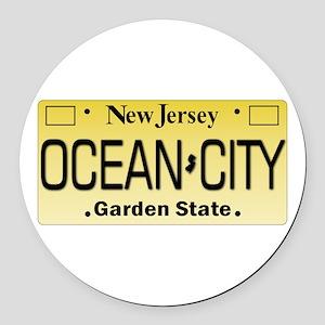 Ocean City NJ Tag Giftware Round Car Magnet
