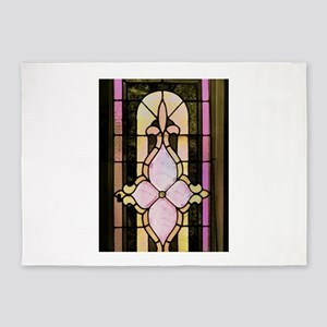 Vintage Stained Glass Painting 5'x7'Area Rug