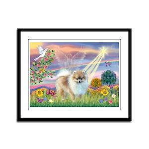 Cloud Angel & Pomeranian Framed Panel Print