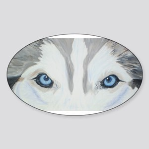 Siberian Husky Blue Eyes Pain Oval Sticker